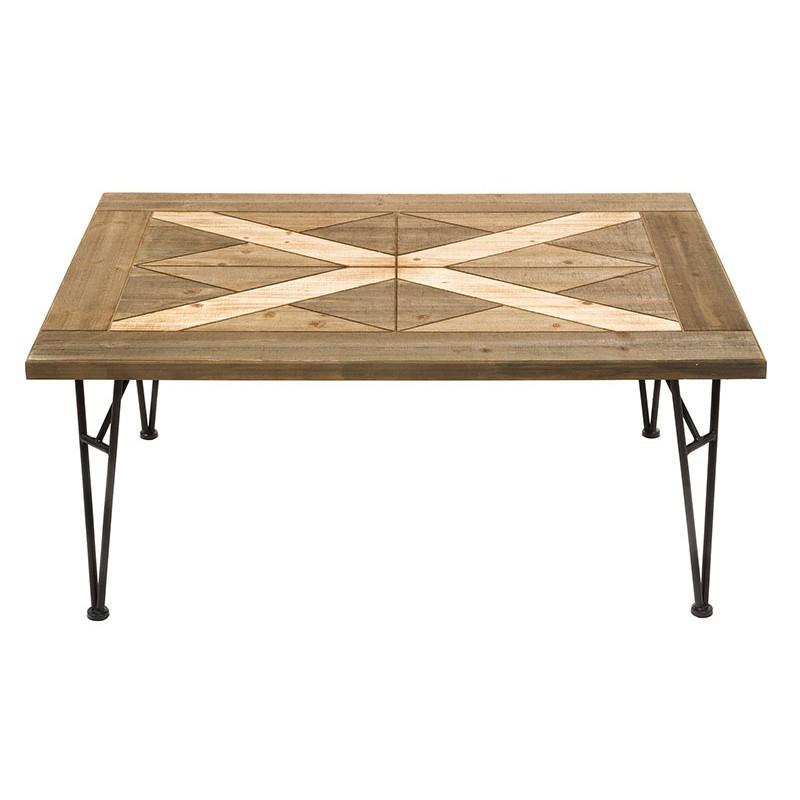 Mesa centro forja madera estilo industrial connature - Mesa madera industrial ...