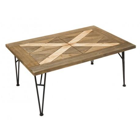 Mesa centro forja madera estilo industrial connature for Mesa centro industrial