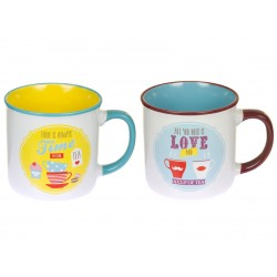 SET 2 MUGS RETRO TIME LOVE