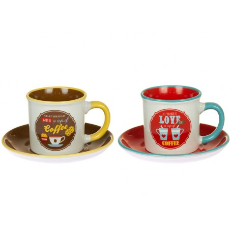 SET 2 TAZAS CON PLATO RETRO COFFEE LOVE