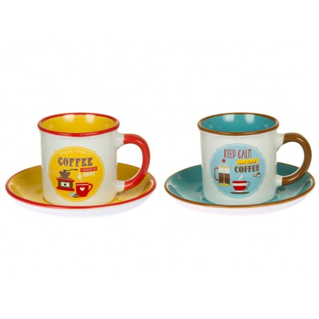 SET 2 TAZAS CON PLATO RETRO KEEP CALM COFFEE